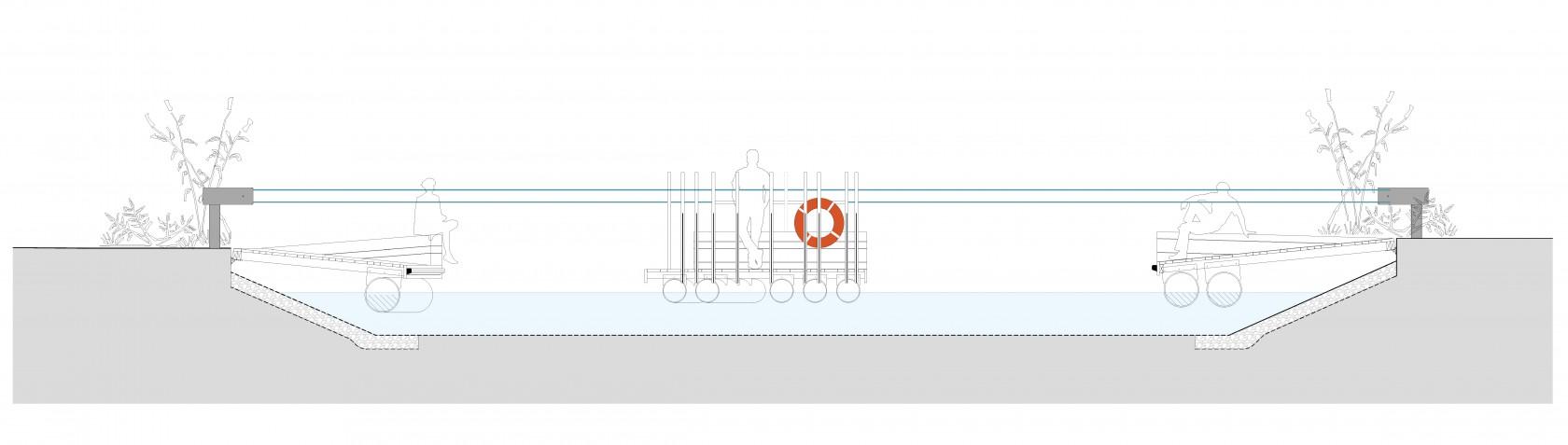 Abscis Architecten - snede voetgangersveer en oevers