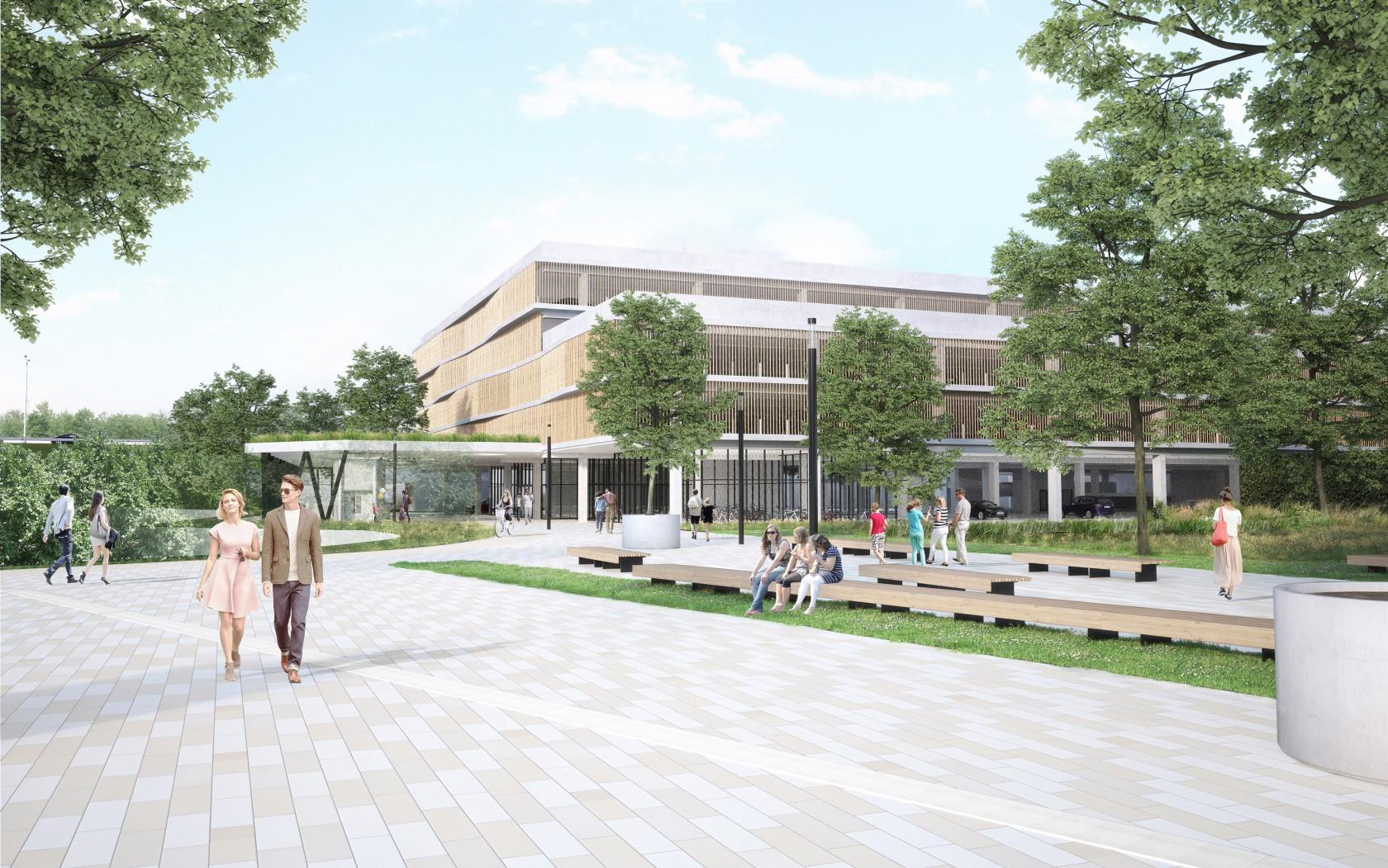 Abscis Architecten - plein met groenstrook - visualisatie Beeldatelier