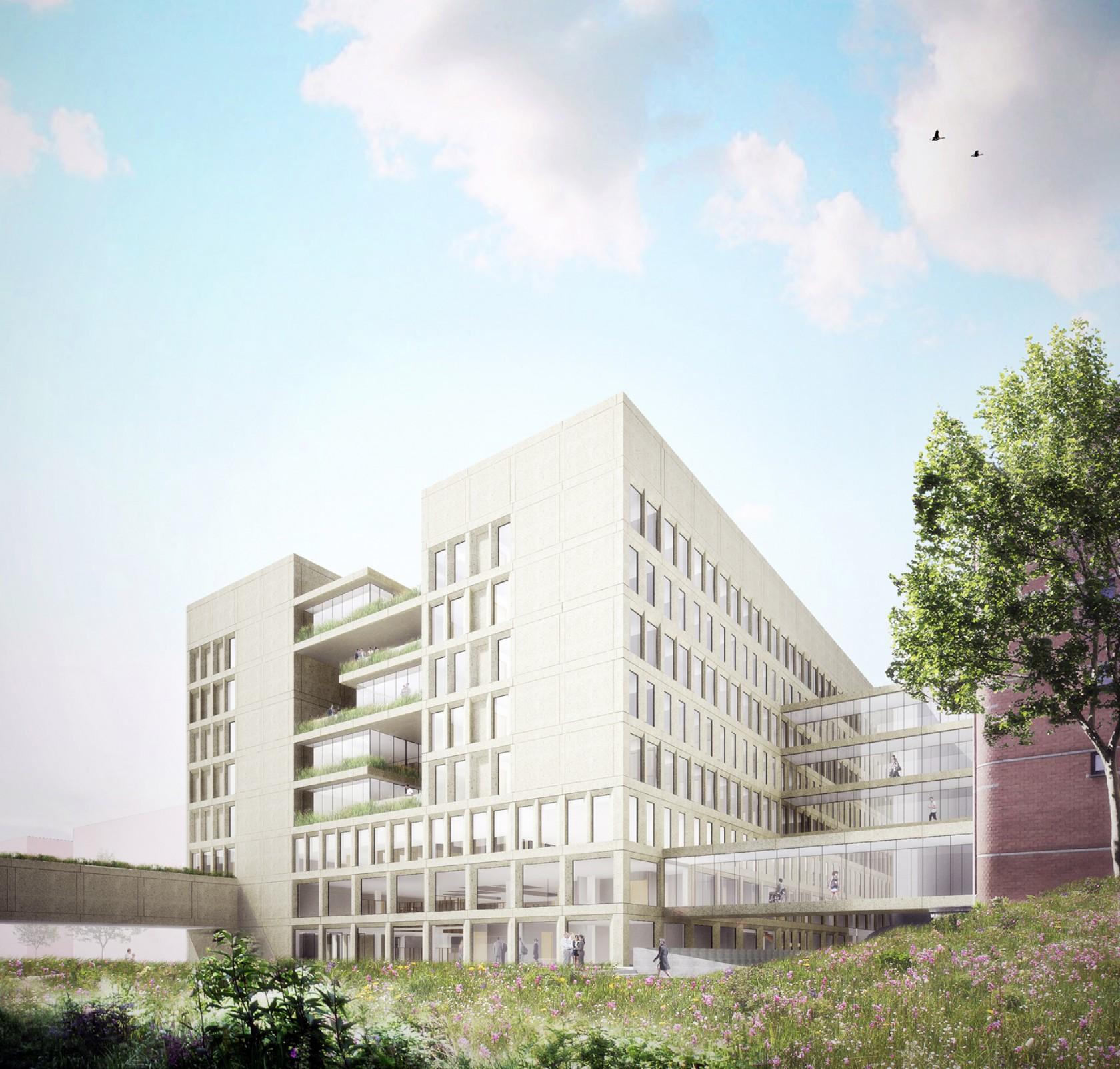 Abscis Architecten - Visualisatie zicht vanop binnenplein