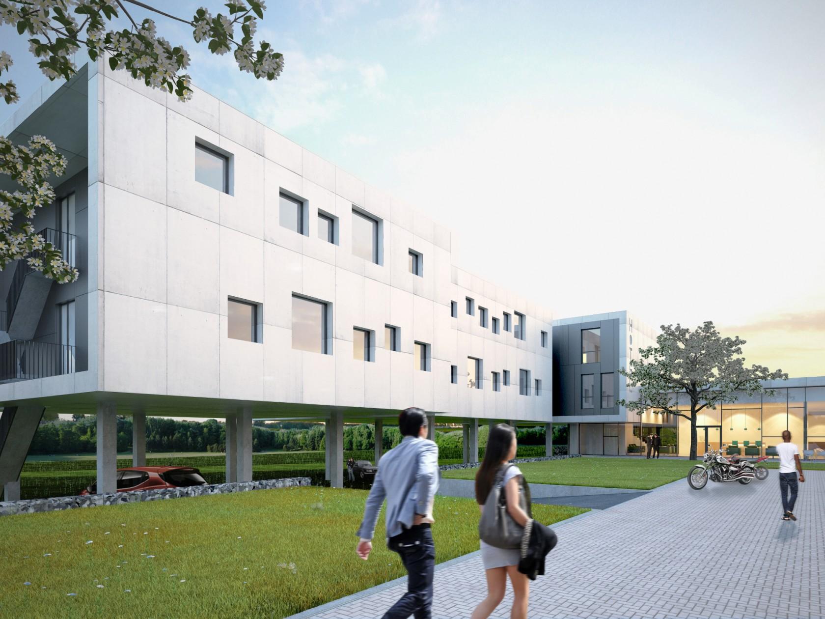 Abscis Architecten - Wandelpad langs hotel richting shop - visualisatie Abscis Architecten