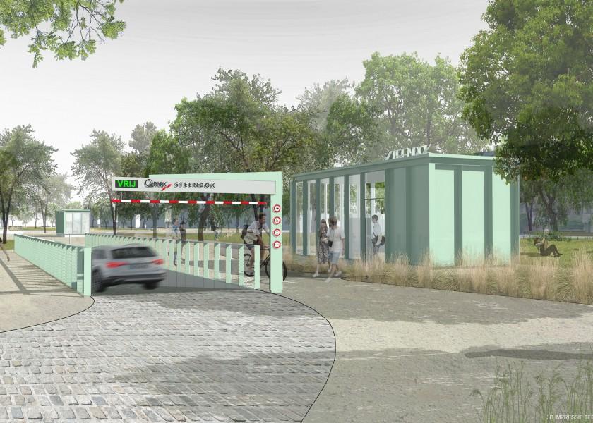 Abscis Architecten - inrijpaviljoen parking Steendok
