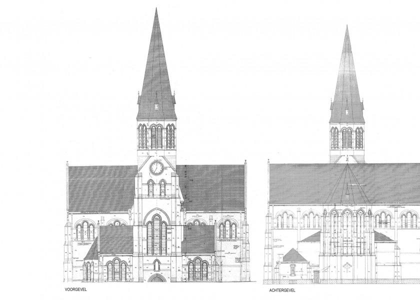Abscis Architecten - bestaande voor- en achtergevel Sint-Gaugericuskerk