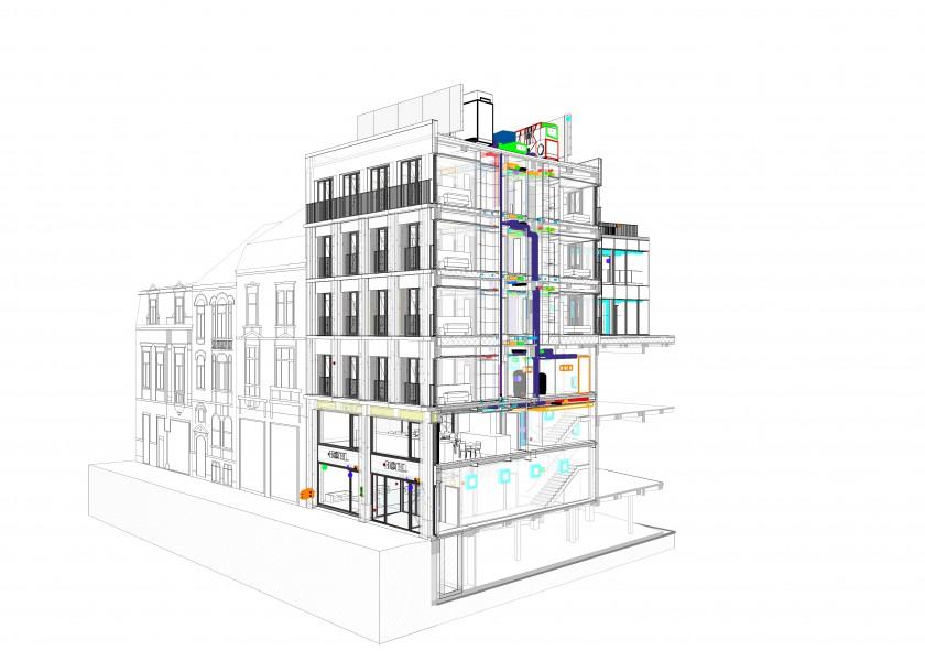 Abscis Architecten - snede technieken - winkelcomplex en hotel Veldstraat Gent